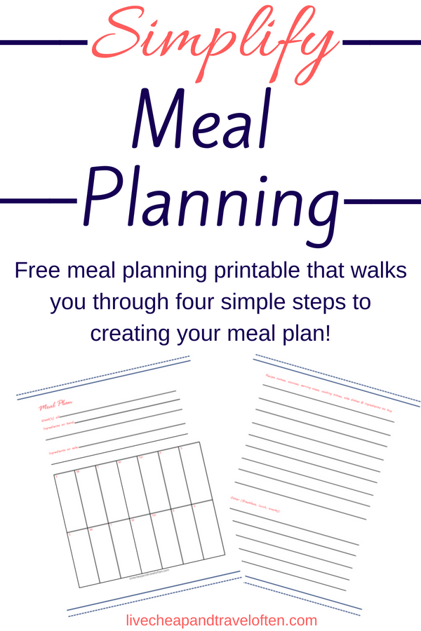 Free Meal Planner Printable Live Cheap Travel Often